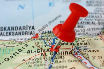 Poster Algérie Pushpin on the map - El Giza, Egypt