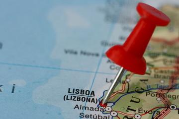 Pushpin on the map - Lisbon, Portugal