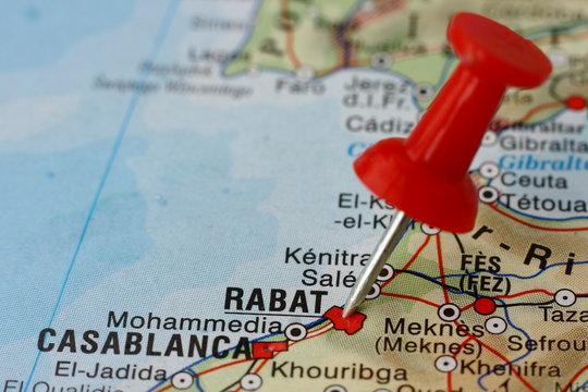 Pushpin on the map - Rabat, Morocco