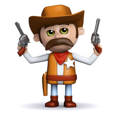 Printed kitchen splashbacks Wild West 3d Sheriff shoots both guns in the air