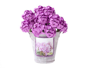 Bucket with Pink Hydrangeas
