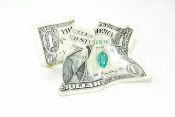 one crumpled dollar