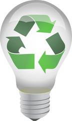recycle lightbulb illustration design over white