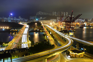 Cargo Terminal and highways in Hong Kong