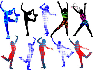 Dancing silhouettes girls_