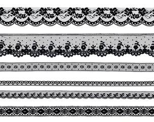 dentelle noire sur fond blanc
