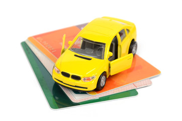 Toy car and credit card