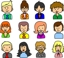 женщина и мужчина лица, векторные набор иконок