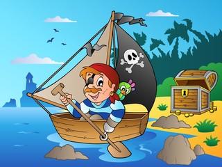 Foto op Plexiglas Piraten Coast with young cartoon pirate 1