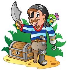 Foto op Plexiglas Piraten Young cartoon pirate 2