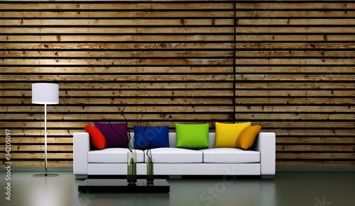 wohndesign weisses sofa mit kissen vor holzwand stockfotos und lizenzfreie bilder auf. Black Bedroom Furniture Sets. Home Design Ideas
