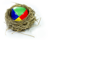 bird's nest with colored ball inside