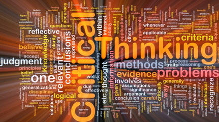 Critical thinking background concept glowing