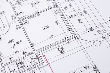 Building floor plan drawing closeup.
