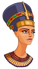 Egyptian Queen  Nefertiti cartoon illustration