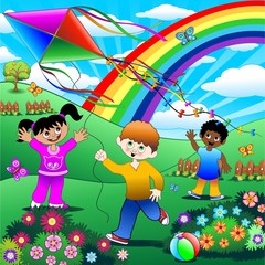 Door stickers Rainbow Bambini Giocano con Aquilone-Children with Kite Background