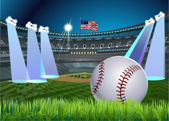 Baseball stadium in the light
