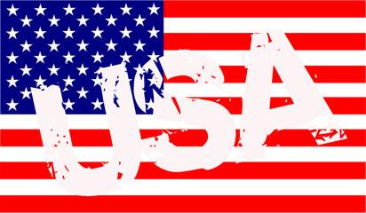 USA - Flagge mit Schriftzug