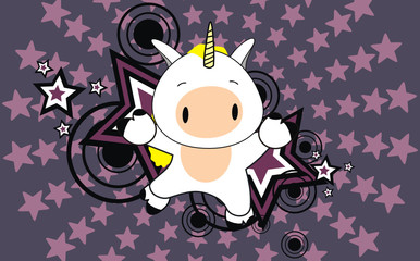 unicorn baby cartoon jump background