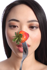 Strawberry eyes of beautiful young oriental girl
