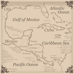 Vintage Caribbean central america map illustration