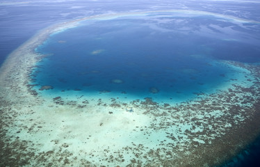 Aerial view of coral reefs. Maldives islands. Indian ocean.