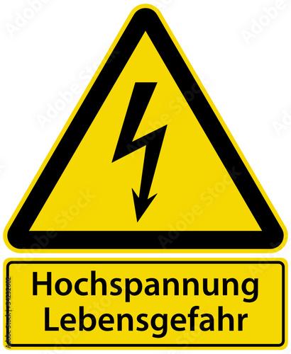 Hochspannung Lebensgefahr Schild Warnschild Blitz Symbol\