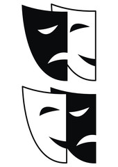 Set of theatrical masks - Tragedy and Comedy