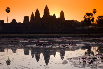 Angkor wat silhouette at sunrise