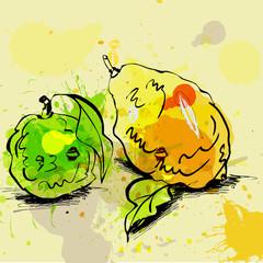 Stylized lime and lemon illustration on grunge background