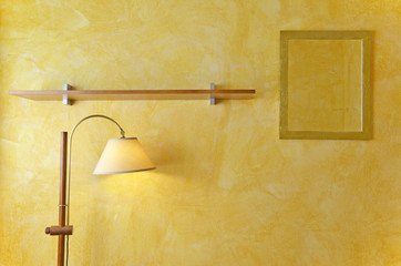interior wall mirrors, lamps and wooden shelves