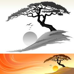 TREE AND SUN LANDSCAPE