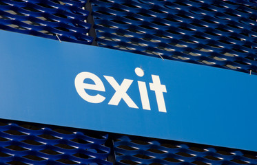 Exit sign on blue background