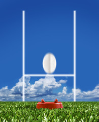 Wall Mural - Rugby ball kicked to the posts showing movement