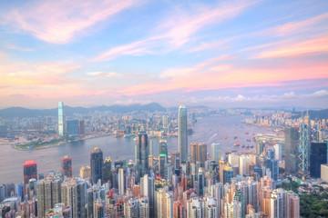 Türaufkleber Hongkong Hong Kong at sunset time with many office buildings