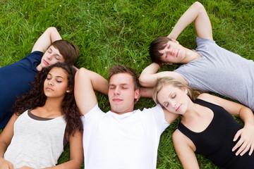 junge leute schlafen im gras