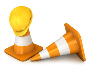 Two roadcones and yellow helmet