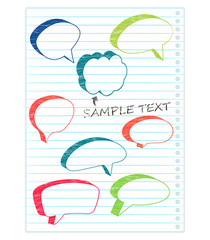 Colorful speech bubbles on a notepad page