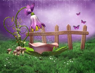 Obraz Baśniowa wanna z kwiatów - fototapety do salonu