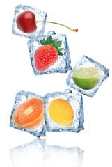 Foto op Canvas In het ijs Ice cubes with fruits