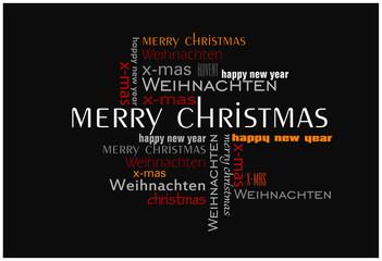 Weihnachtskarte Text Collage schwarz
