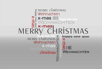 Weihnachtskarte Text grau