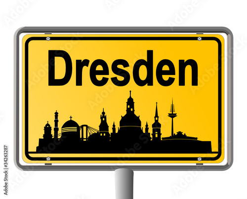 Dresden Ortsschild Mit Skyline Stockfotos Und