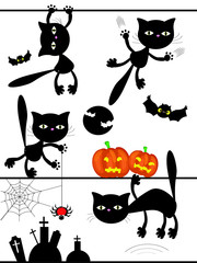 Black cats ,vector
