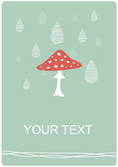 Contemporary background with fly agaric and rain drops