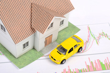 Toy car and house