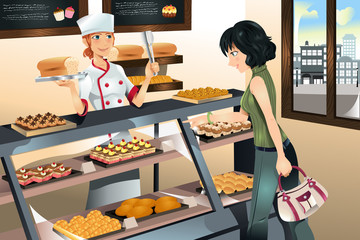 Buying cake at bakery store
