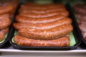 Fresh sausage at market