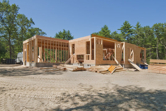 New home under construction with only the lower level built