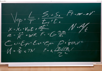 School blackboard with  writing.